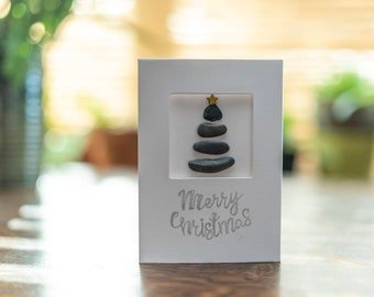 Pebble Art Christmas Tree, Greetings Card, Happy Holidays, Merry Christmas To You, Festive Handmade Card, Made in Cornwall, Cornish Pebbles