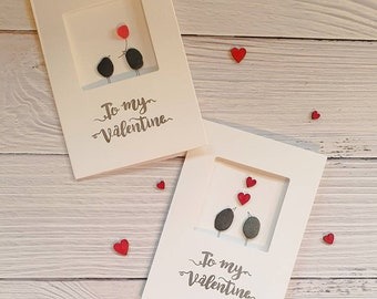To My Valentine Greeting Card, Pebble Bird Couple, Single Rose For You, Love Hearts, Forever And Always, February 14th, Made in Cornwall