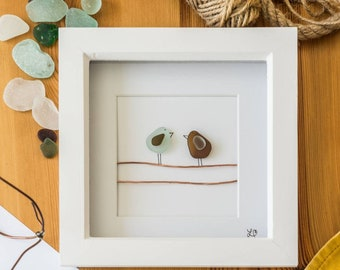 Telephone Wire Birds, Mothers Day Gift, Sea Glass Bird Art, Pebble Pictures, Recycled Copper, Hand Picked and Made in Cornwall