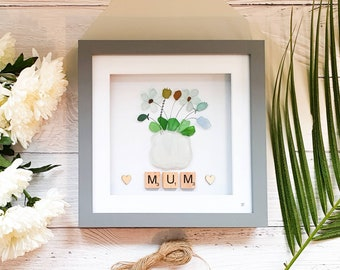 Mother's Day Cornish Sea Glass Bunch Of Flowers In A Vase For The Best Mum Thank You For Everything You Do Handmade In Cornwall with Love