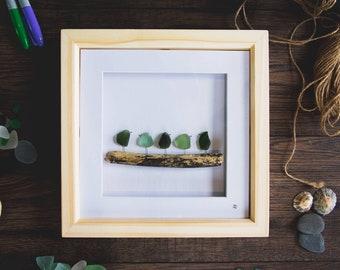 Bird Family, Sea Glass Birds, Family of five, Driftwood, Sea Glass Art, Cornish Sea Glass, Cornish Gift Idea, Handmade, Made in Cornwall