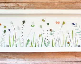 Summer Meadow, Wild Flowers,  Hedgerow, Watercolours, Butterflies, Bees, Rare Seaglass, Cornish Gift, Made in Cornwall, Fineliner Drawing