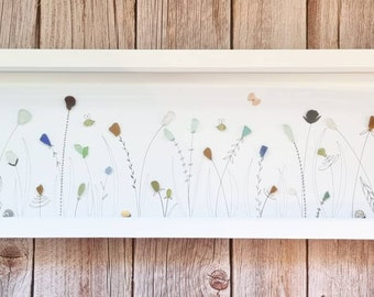 Summer Meadow, Wild Flowers,  Hedgerow, In Bloom, Butterflies, Bees, Rare Seaglass Finds, Cornish Gift, Made in Cornwall, Fineliner Drawing