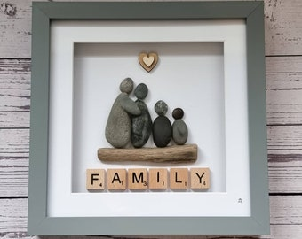 Pebble Art Family Frame, Pebble People, Beach Stones, Pets, Scrabble Letters, Gift Idea, All Occasions, Cornish Gift, Made in Cornwall