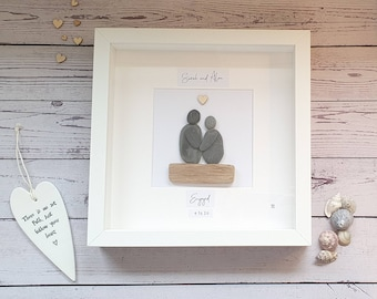Engagement Pebble Art Couple, True Love, Engaged, Bride and Groom To Be, Happy Memories, Save The Date, Personalised Frame, Made in Cornwall
