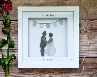 Bride and Groom Sea Glass Art, Pebble People, Mr and Mrs, Personalised Surname and Date, Bunting Flags, Cornish Wedding Gift Idea, Beach Art