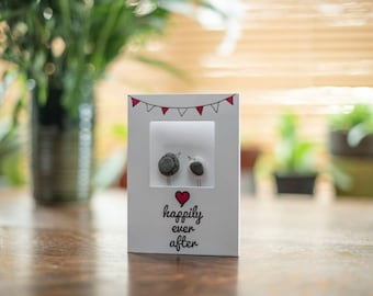 Happily Ever After Greeting Card, Wedding, Engagement, Anniversary, Handmade, Made in Cornwall, Cornish Pebbles, Love Birds, Bunting, Love