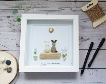Some Bunny Loves You, Rabbit Couple, House Bunnies, Pet Lover, Pebble Art Pets, Cornish Gift Idea, Anniversary Gift, Personalise Me,Handmade