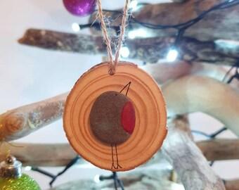 Robin Christmas Tree Decoration, Single Bird, Recycled Log Slice, When Robins Appear, Happy Holidays, Secret Santa Gift Idea