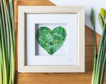 Sea Glass Art, Love Heart, Framed Art, Green, Made in Cornwall, Unique Gift, Occassion, Anniversary, Wedding, Birthday, Home Decor