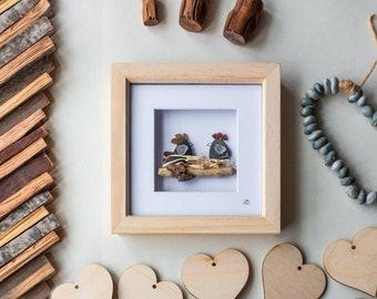 Two little Chickens, Sea Glass Art, Pebble Art, Chicken lover, Farmer, Birds Nest, Hens, Roosters, Nesting, Driftwood, Cornish Gift,Handmade