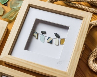 Washing Line Birds, Laundry Room, Clothes, Houswarming, Little Birds, Cornish Pebble Art, Sea Pottery, Sea Glass Art, Hand made in Cornwall