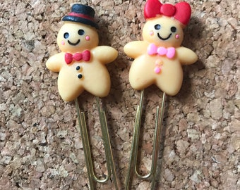 Pair of Gingerbread People Planner Clips