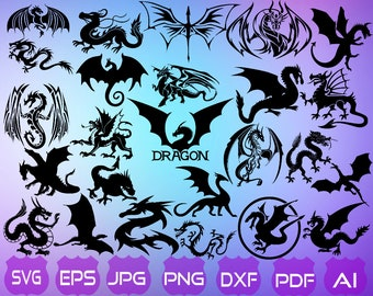 28 Dragon SVG | Dragon Silhouette | Dragon Clipart | Cutting Files | Svg Files For Cricut |  Dragon | Instant Download ||