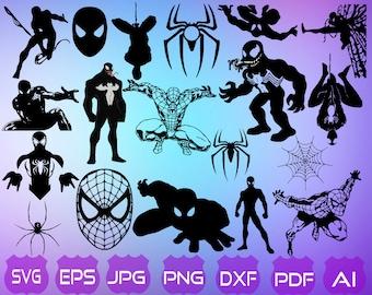 19 Spiderman SVG | Spiderman Silhouette | Spiderman Clipart | Spiderman Cut Files | Spiderman Vector | Superhero SVG | Instant Download |