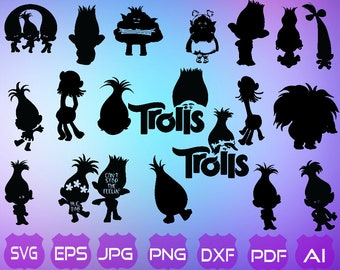 25 Trolls SVG | Trolls Silhouette| Trolls Hair SVG | Trolls Clipart | Poppy SVG | Troll Cut File | Instant Download | Trolls hair don't care