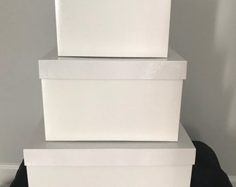 White Gift Boxes With Lids Etsy Nz