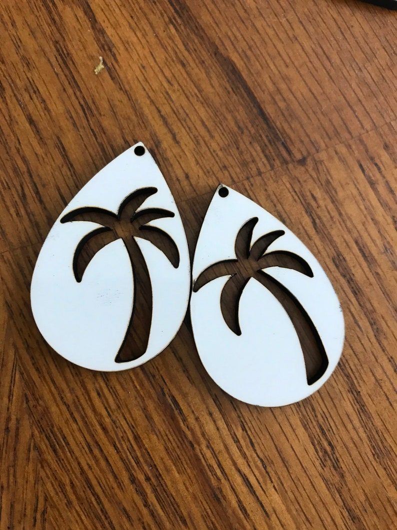 Teardrop Palm Tree Sublimation Earrings Free mystery sublimation blank with 40 dollar purchase