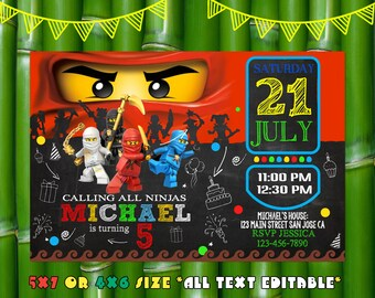 Ninjago Invitation,Ninjago Birthday,Ninjago Party,Ninjago Invites,Ninjago Invite,Ninjago Birthday Party,Ninjago Card,Ninjago Sl 594
