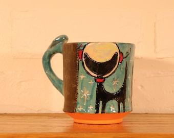 Retro Alien Black Cat Atomic Age Sci-fi Kitsch Coffee Tea Mug Handmade Ceramics Mid Century Modern Ready To Ship Gift Cute Fun Bright Colors