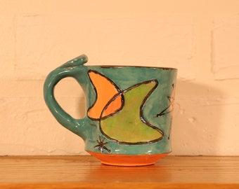 Retro Boomerang Atomic Burst Googie Kitsch Coffee Tea Mug Handmade Ceramics Mid Century Modern Ready To Ship Gift Cute Fun Bright Colors MCM