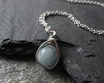 aquamarine pendant, silver aquamarine pendant, March birthstone necklace, March birthstone jewelry, wire wrapped pendant, bon voyage gift