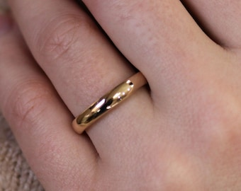 4 MM Dome Half Round Gold Ring / Solid 14k White Gold Classic Plain Wedding Band / Highly Polished / 950 Platinum / Stackable Unisex Ring