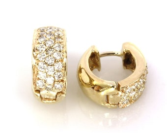 1.5 ctw Natural Diamond Hoop Earrings / Wide 7 MM Pave Set Hoops / Solid 14k 18k Gold / Round Hinged Clasp Earrings 17 MM / Anniversary Gift