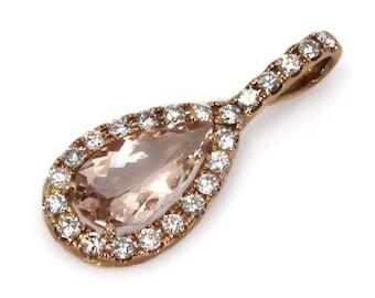 5.3 ctw Natural Peach Morganite & Diamond Pendant / Halo Tear Drop Pendant 36 MM / Solid 14k 18k Gold / Pear Cut Morganite / Birthday Gift