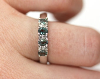 1 ctw Natural Alexandrite & Diamond 4 Stone Band Ring / Solid 14k 18k Gold / Oval Cut Color Change Alexandrite Ring 4 MM / June Birthstone