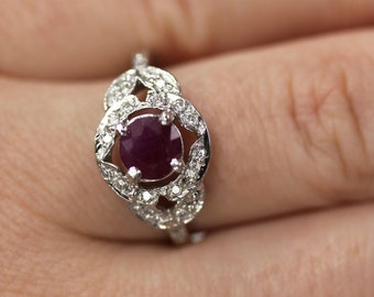1.3 ctw Natural Red Ruby & Diamond Engagement Ring / Leaves Accent Promise Ring 11MM / Solid 14k 18k Gold / Round Cut Ruby / July Birthstone