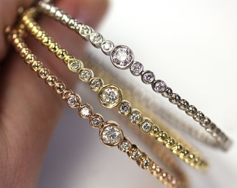 0.6 ctw Natural Diamond Dotted Ball Bangle / 7 Stone Bezel Set Beaded Bracelet / Solid 14k 18k Gold / Length 6 to 8 Inches/ April Birthstone