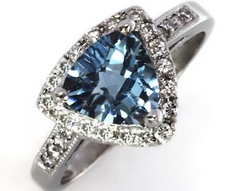 2.5 ctw Natural Blue Aquamarine & Diamond Engagement Ring / Halo Cocktail Ring / Solid 14k 18k Gold / Triangle Aquamarine / March Birthstone