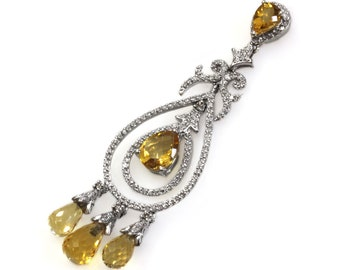 One-of-a-Kind 5 ctw Natural Yellow Citrine & Diamond Pendant / Very Long Dangling Pendant 68 MM / Solid 14k White Gold / November Birthstone