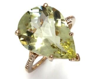 10.15 ctw Natural Yellow Green Lemon Quartz & Diamond Cocktail Ring / Solid 14k 18k Gold / Pear Cut Quartz Statement Ring / Birthday Gift