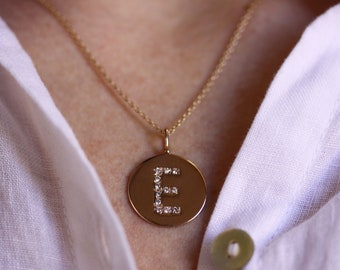 Letter E Medallion Pendant/ Round Initial Pendant/ Solid 14k 18k Gold/ 0.12 ctw Natural Diamond Pendant/ Personalized Jewelry/ Birthday Gift