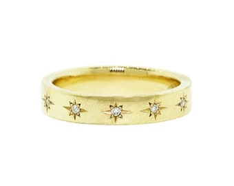 Solid 14k Gold Diamond Starburst Ring/ 4 MM Flat Stars Ring/ Stackable Half Eternity Band/ Polished or Brushed Sturdy Ring/ Multi Stars Ring