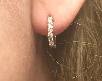G-H VS-SI 0.3 ct tw Natural Diamond 14k Yellow Gold 7 Stone Semi Hoop Earrings