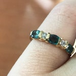 0.85 ct tw Natural Color Change Alexandrite & Diamond Solid Gold 5 Stone Band Ring | Five Stone Wedding Band | 3 Oval Alexandrite | 14k 18k