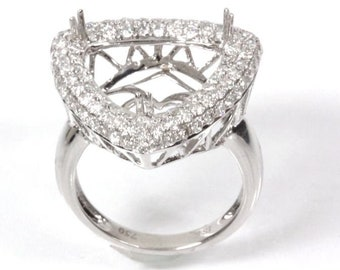 9470af79fc1052 1.5 ct tw Natural Diamond (G-H, VS-SI) Gold Semi Mount Halo Ring