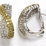 1.5 ct tw Natural Fancy Yellow & White Diamond (G-H, SI1-SI2) Solid Gold Twisted Braided French Clip Earrings | 14k 18k White Yellow Rose