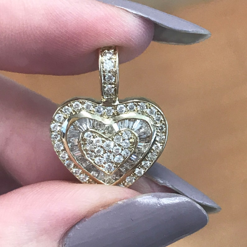 0.75 ct tw Natural Diamond G-H SI2 Solid Gold Drop Heart image 0