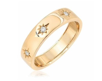 Diamond Starburst Ring 6 MM / Solid 14k Gold / Flat Stars Ring / Stackable 3 Stone Band / Polished or Brushed Sturdy Ring / Multi Stars Ring