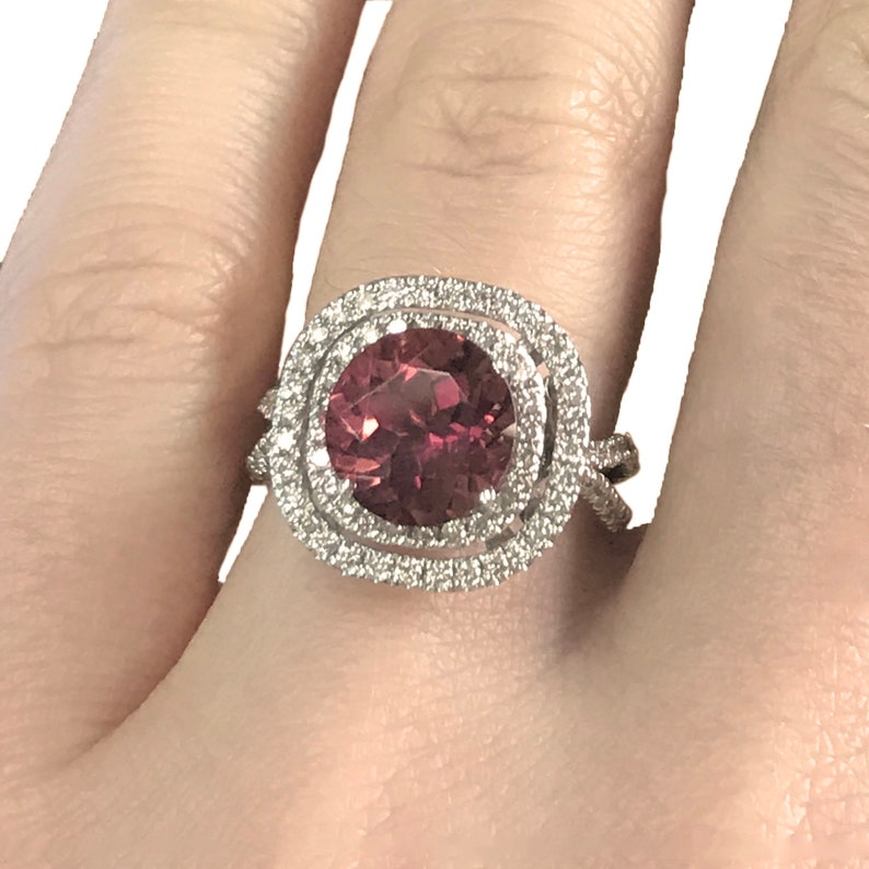 4.3 ct tw Natural Pink Tourmaline & Diamond Solid Gold Double image 0