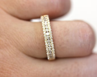 0.6 ctw Natural Diamond (G-H, SI) Channel Pave Anniversary Ring 4MM / Solid 14k 18k Gold / Dainty 3 Row Wedding Band Ring / April Birthstone