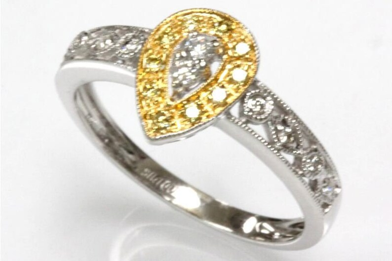 G-H, VS-SI, SI1 14k 18k White Yellow Rose Two Tone Gold Available Solid Gold Engagement Ring 0.25 ct tw Natural Fancy Yellow Diamond
