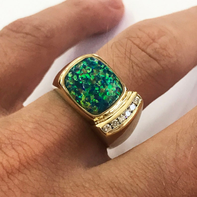 3.75 ct tw Natural Multicolor Opal & Diamond Solid Gold Modern image 0