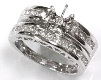 0.7 ct tw Natural Diamond Gold Semi Mount Channel Wedding Ring Set   Solid 14k, 18k Gold Diamond Engagement Ring   Bridal Set   Wedding Band