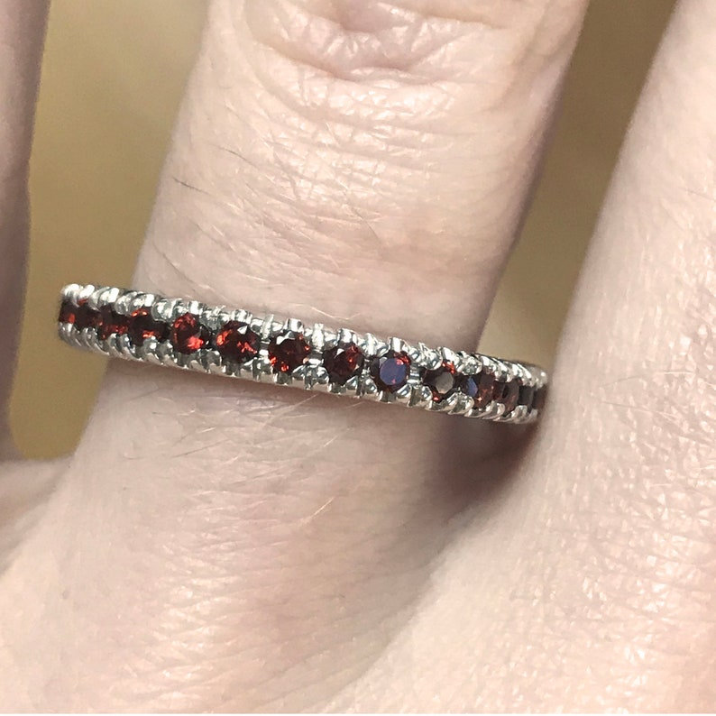 0.4 ct tw Natural Red Garnet Solid Gold Full Eternity Band image 0