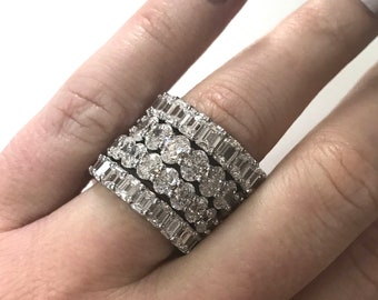 6.15 ctw Natural Emerald Cut Diamond Full Eternity Ring / 4.2 MM Wedding Band Ring / Solid 14k 18k Gold / Stackable Anniversary Bridal Band